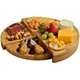 """Picnic at Ascot Portable Multi Level Tiered Bamboo Board for Cheese & Appetizers - 13"""" Diameter - USA Patented & Quality Assured"""
