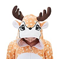 ABENCA Kids Fleece Onesie Pajamas Christmas Halloween Animal Cosplay Sleepwear Costume,Deer,130