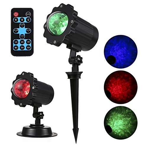 Projector Lights Outdoor, ProGreen 6W Waterproof Spotlight Rotating Led Light, Adjustable Projection Kaleidoscope for Garden, Patio, Swimming Pool, Trees, Landscape, Party Decorations