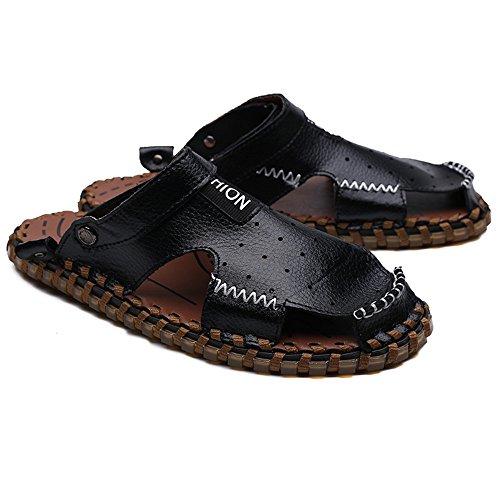 per all'aperto senza pelle Dimensione schienale pelle regolabile Casual da in escursioni Nero morbidi vera shoes piatti Mens 44 sandali antiscivolo EU 2018 in Color uomo 6w8THqB