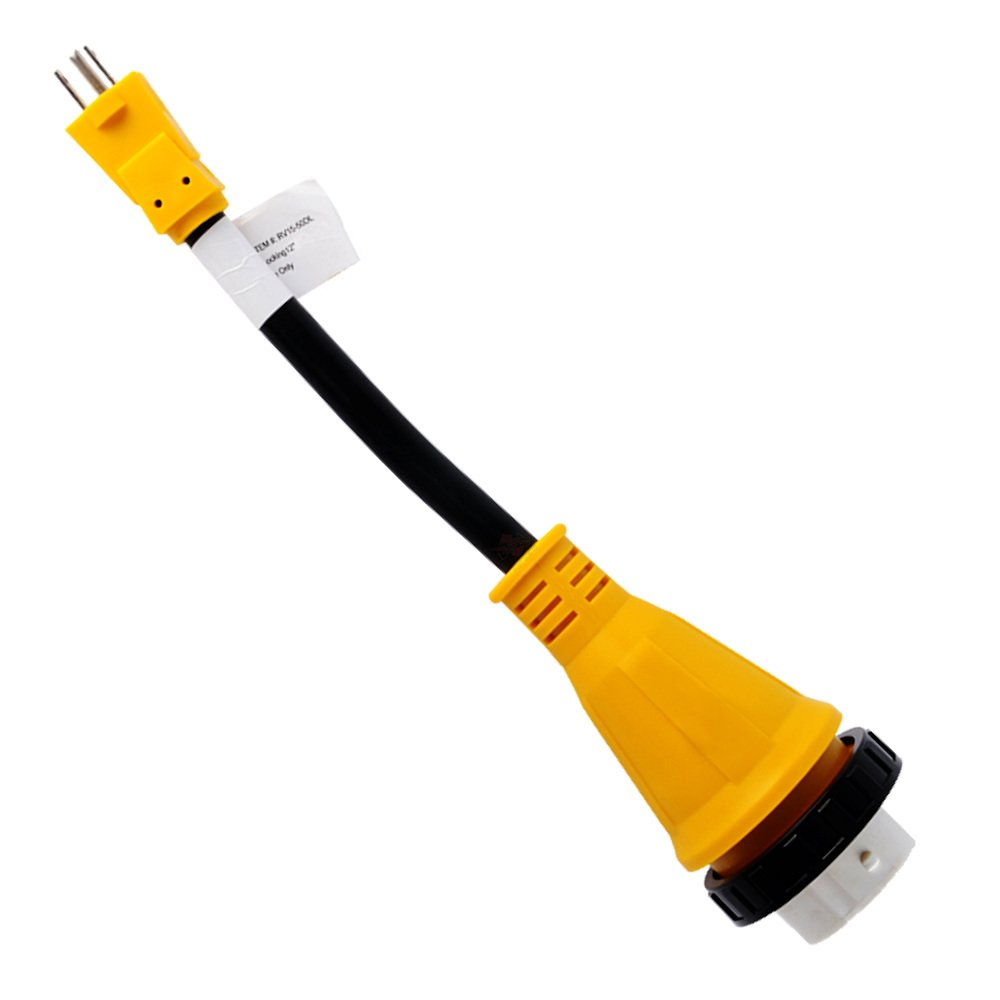 12'' Dogbone RV Adapter Power Cord 15A Male 5-15P - 50A Twist Lock Female SS2-50R