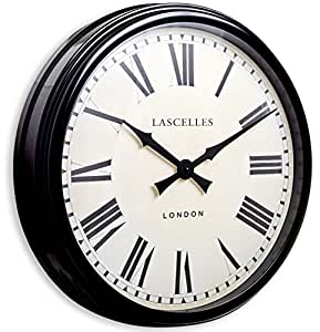 Roger Lascelles - Reloj de pared grande, estilo estación, color negro: Amazon.es: Hogar