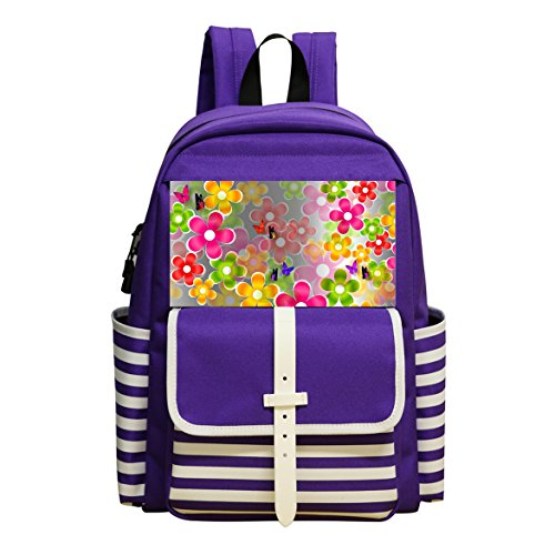 Fashion Printed Backpack Colored Flowers School (Fashion Chimney)