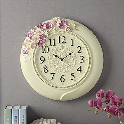 PINCHU Elegant European Pansy Silence Quartz Stopwatch Wall Clock,Home Decoration For Wedding Room,Meetting ()