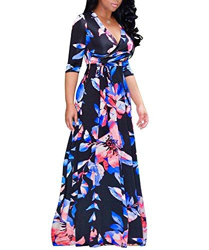 shekiss Women's Sexy Deep V Neck Dress Floral Print Loose Casual Long Maxi FlowerBlack Outfit