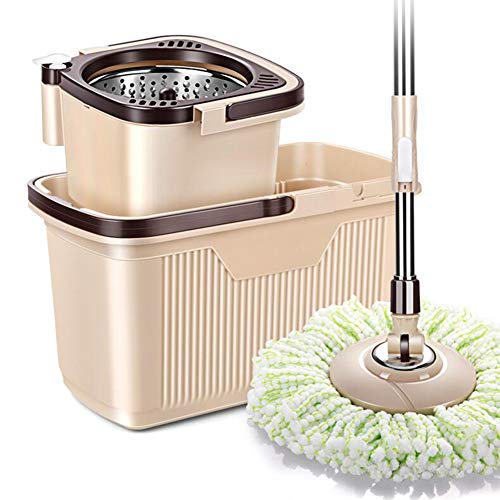 GHH Spin Mop and Stainless Steel Rotating Bucket Set 4 Wheel Separable and 1 Pcs Microfiber Mop Pads with Drag Reduction Device Suitable for Families