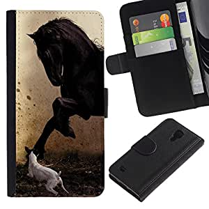KingStore / Leather Etui en cuir / Samsung Galaxy S4 IV I9500 / Pegasus Jack Russell Pintura Caballo Mustang