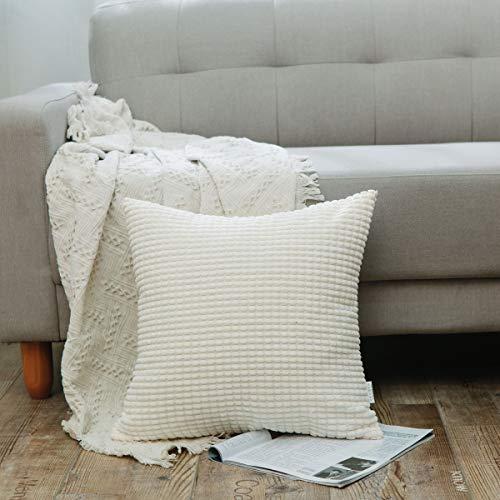 NATUS WEAVER Corn Striped Corduroy Euro Throw Pillow Sham Large Cushion Cover for Chair, 24 x 24 inch (60 cm), Cream