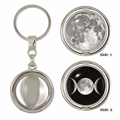 Full Moon & Triple Moon 2-Sided Spinner Keyring -