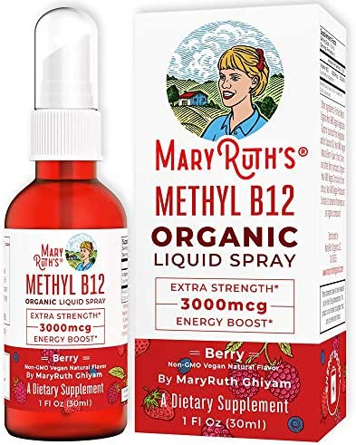 (Extra Strength-60 Day) Organic Vitamin B12 (Methyl) Liquid Spray by MaryRuth's Energy Boost - Sugar Free - Non GMO Vegan - Gluten Free - Paleo - Bariatric, Celiac Glass Bottle 1oz-3000 mcg 1
