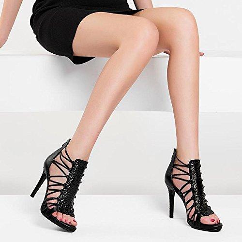 JIANXIN Damen Sommer High Heel Sandaletten Echtes Echtes Echtes Leder Und Römische Bandage. (größe : 34) - 962572