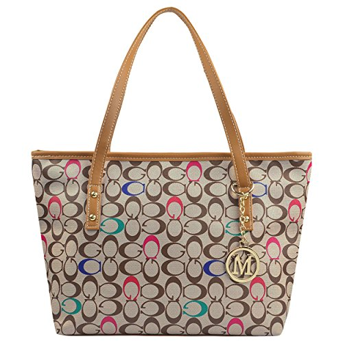 Micom Casual Signature Printing Pu Leather Tote Shoulder Handbag with Metal Decoration for Women (C Signature)