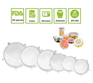 JJLng Stretchable Silicone Food Covers,Stretch and Fit Silicone Covers Reusable Microwave Oven Dishwasher Safe 6 Sets (Transparent)