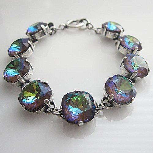 "Catherine Popesco Silvertone Crystal Round Bracelet, 7.25"" Ultra Coco 1696"