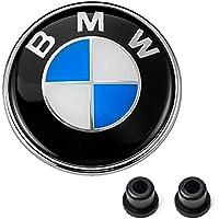 BMW Emblems Hood and Trunk, BMW 82mm Logo Replacement + 2 Grommets for ALL Models BMW E46 E30 E36 E34 E38 E39 E60 E65 E90 325i 328i X3 X5 X6 1 3 5 6 7