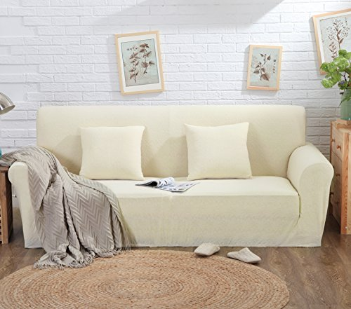 Mr.You 1-piece Sofa Slipcover 1-piece Knit Jacquard Fbaric Sofa Cover(Beige,custom-made) by Mr.You