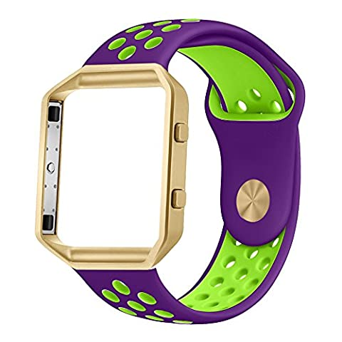 UMTELE Soft Silicone Replacement Strap with Gold Frame for Fitbit Blaze Smart Fitness Watch, Large, Purple (Purple Gold Watch)