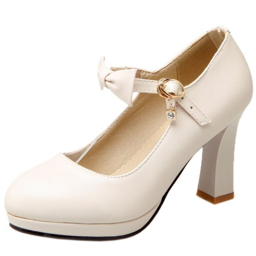 Zanpa Damen Heel Pumps Bow36 EU (sole length 23 CM)|Beige