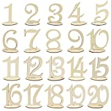 WER 20 Pieces Number 1 to 20 Place Wooden Card Wedding Birthday Party Table Decoration
