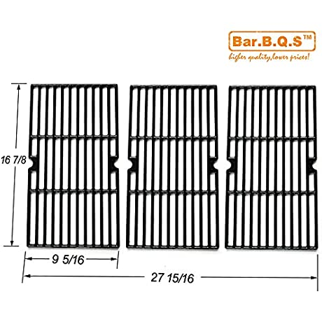 Bar B Q S 68763 Cast Iron Cooking Grid Replacement 68763 For Select Gas Grill Models By Charbroil Kenmore And Others Set Of 3