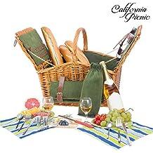 Picnic Basket Set for 2 Person Picnic Hamper Set | Double Lid | Beach Collection | Folding Picnic Blanket Ceramic Plates Metal Flatware Wine Glasses S/P Shakers Bottle Opener Green Lining Picnic Set