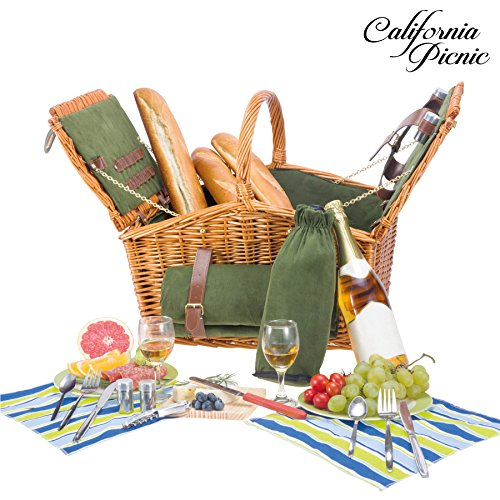 Picnic Basket Set for 2 Person Picnic Hamper Set | Double Lid | Beach Collection | Folding Picnic Blanket Ceramic Plates Metal Flatware Wine Glasses S/P Shakers Bottle Opener Green Lining Picnic Set
