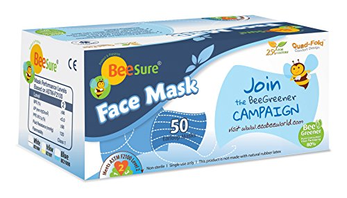 BeeSure BE2100Wcase Ear Loop Face Masks, White (Pack of 400) by BeeSure (Image #1)