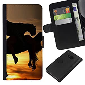 All Phone Most Case / Oferta Especial Cáscara Funda de cuero Monedero Cubierta de proteccion Caso / Wallet Case for HTC One M7 // Mustang Galloping Horses Sunset Stallion