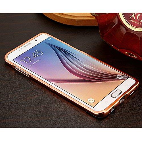 2 en 1 Parachoques del Metal Aluminio + PC Back Cover Funda para Samsung Galaxy S6 Edge G9250,Yihya Ultra Thin Carcasa Metal Frame Bumper Espejo Efecto Trasera Protectora Case Skin--Negro Oro rosa