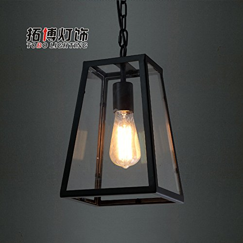 WYMBS Creative furniture decoration pendant light Iron boxes long Fang Tieyi chandelier (Fang Black Pendant)