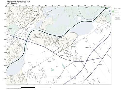 Amazon.com: ZIP Code Wall Map of Florence-Roebling, NJ ZIP Code Map ...