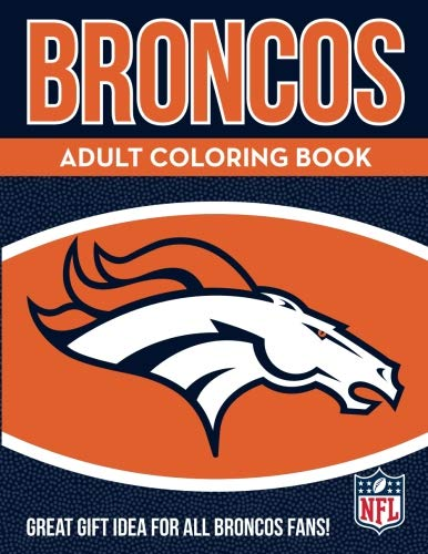 NFL Denver Broncos Adult Coloring Booknfl Adult Coloring Book, Blue, Orange, 96 Coloring Pages