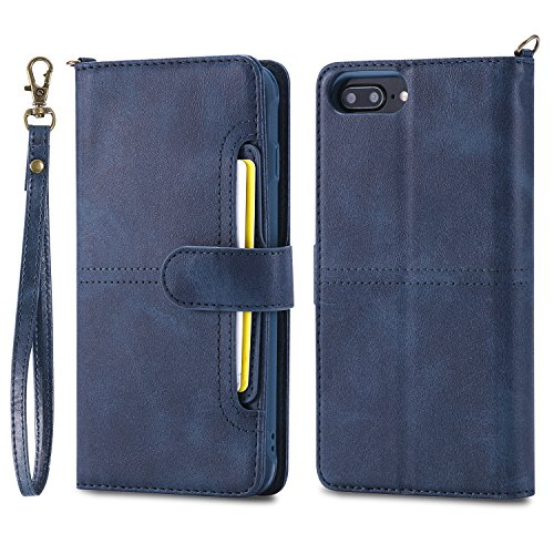DAMONDY iPhone 8 Plus Case,iPhone 7 Plus, Detachable 2 in 1 Cover Stand Wallet Purse Card Slot ID Holders Design Flip Cover Pocket Purse Leather Magnetic Protective for iPhone 7 8 Plus-blue by DAMONDY