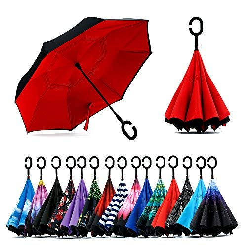Loop Wrist Cuff - Spar. Saa Double Layer Inverted Umbrella with C-Shaped Handle, Anti-UV Waterproof Windproof Straight Umbrella for Car Rain Outdoor Use