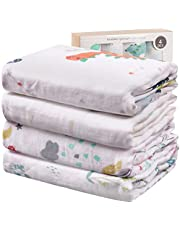 Viviland Baby Muslin Swaddle Blanket with Gift Box   70% Bamboo 30% Cotton Receiving Blanket   4 Packs, 47 X 47 inch