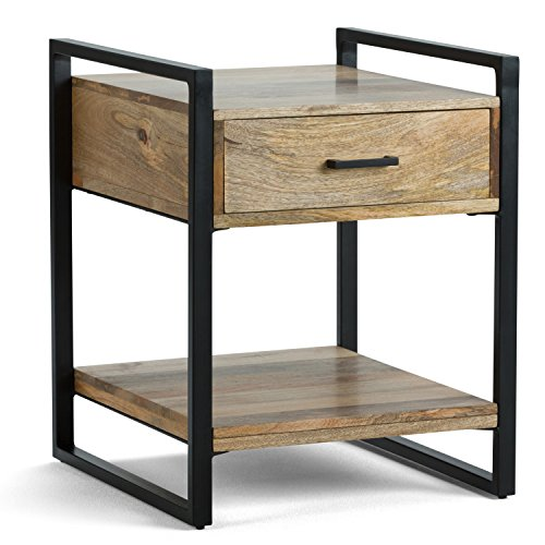 Riverside Metal (Simpli Home Riverside Solid Mango Wood & Metal End Side Table, Natural)