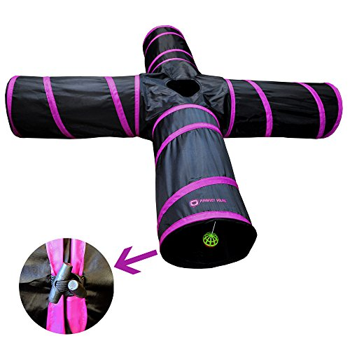 New Cat tunnel Design, Collapsible 4-way Cat Tunnel Toy with Crinkle (Large, Pink)