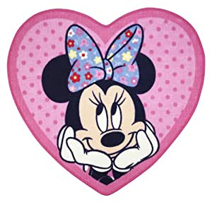 Character World - Alfombra con forma de corazón, diseño de Minnie Mouse