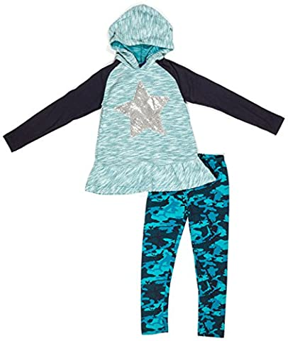OK! Kids Girls Two Piece Star Ruffled Hoodie and Camo Sweatpants Leggings Set Teal Size 6X - Personalized Free Toddler Tee