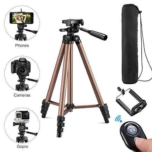Kwithan Yunteng 50 Inch Aluminum Tripod, Video Tripod for Cellphone and Camera, Universal Tripod with Wireless Remote & Cellphone Holder Mount for All Smart Phone, Gopro