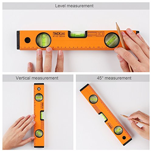 TACKLIFE MT-L03 12-Inch Level Aluminum Alloy Magnetic Torpedo Level Plumb/Level/45-Degree Measuring Shock Resistant Spirit Level with Standard and Metric Rulers by TACKLIFE (Image #2)