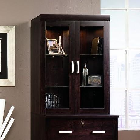 Sauder 408294 Office Port Hutch Dark Alder