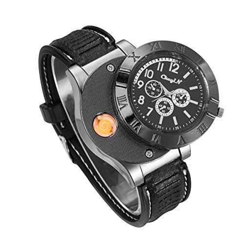 - CkeyiN Novelty Sport Wristwatch Quartz Watches Collectable Butane Cigar Cigarette Lighter with USB Electronic Rechargeable Windproof Flameless Electric Gift - Black