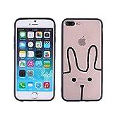 Carcasa rígida de TPU para Apple iPhone 7 Plus/8 Plus (negro), diseño de conejo con texto Melt Your Heart, translúcido y esmerilado