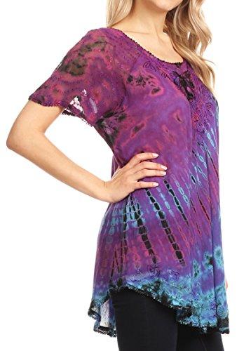 Violet Shirt Sleeve brod Tie Blouse Corset Sakkas Long Dye Cap Splenka Top Neck 8IqF7wvF