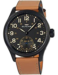 Glycine KMU 48 Kriegs Marine Uhren Manual Wind Black PVD Mens Watch 3906.99AT LB33