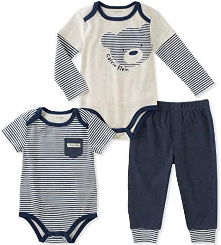 Calvin Klein Baby Boys' 3 Pieces Bodysuit Pant Set