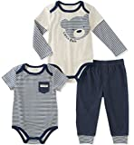 Calvin Klein Baby Boys' 3 Pieces Bodysuit Pant Set, Vanilla/Navy, 18M