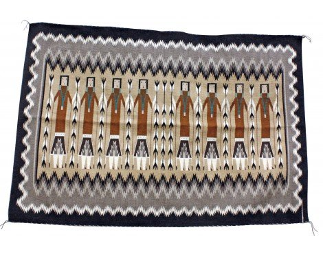 (Perry Null Trading Margie Harvey, Yei Rug, Navajo Handwoven, 55 in x 35 in)