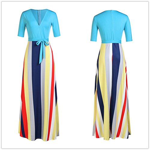 Dress Maxi Neck Half Party V Blue Mioloe Women's Stripes Dress Sleeve wxzCYYqB